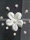 One-tier White/Ivory Elbow Bridal Veils with Faux Pearl/Satin Flower #LDB03010127