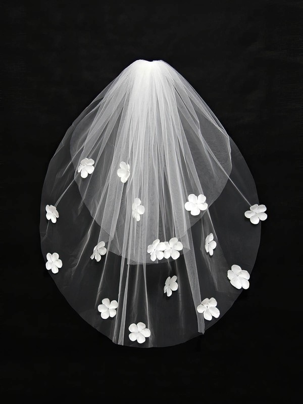 Two-tier Ivory/White Elbow Bridal Veils with Satin Flower