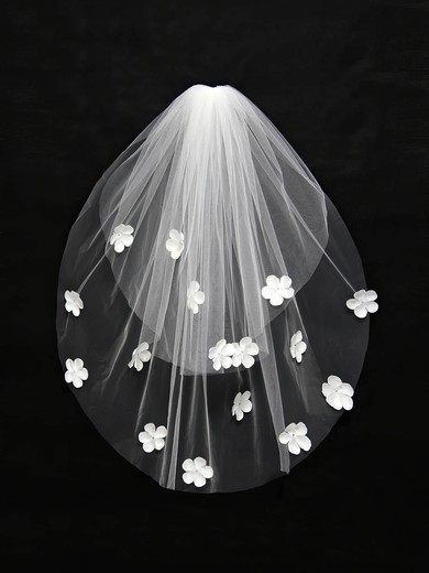 Two-tier Ivory/White Elbow Bridal Veils with Satin Flower #LDB03010128