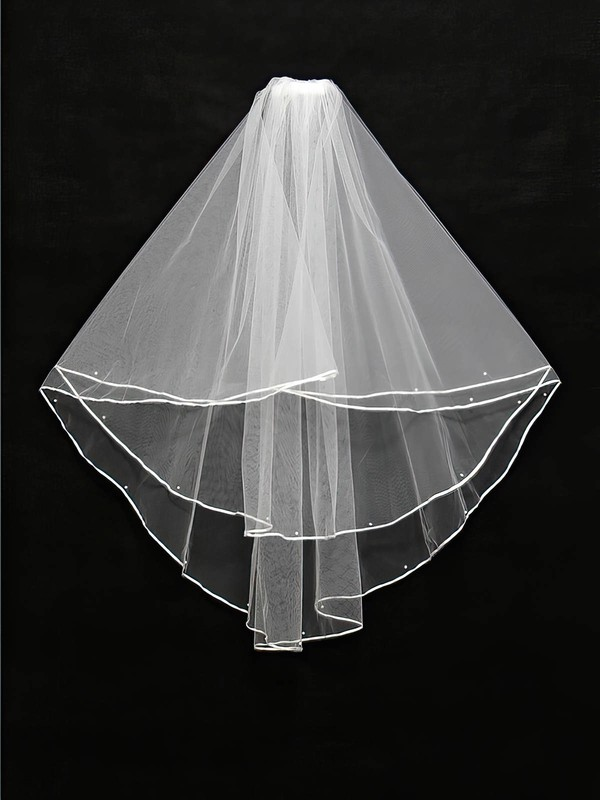 Two-tier White/Ivory Elbow Bridal Veils with Ribbon/Faux Pearl #LDB03010130