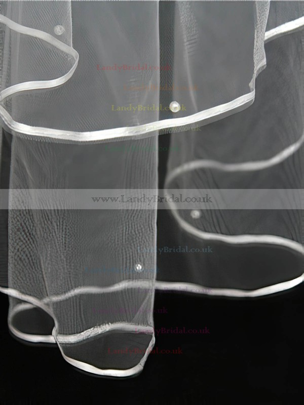 Two-tier White/Ivory Elbow Bridal Veils with Ribbon/Faux Pearl