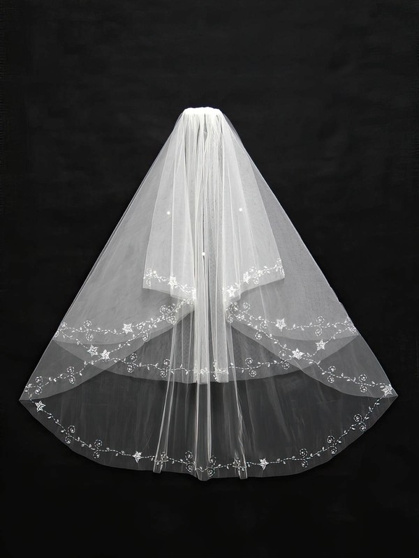 Two-tier White/Ivory Elbow Bridal Veils with Beading #LDB03010131