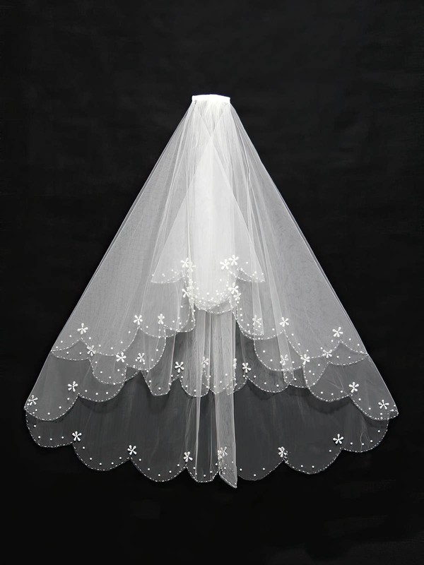 Two-tier White/Ivory Elbow Bridal Veils with Faux Pearl/Beading #LDB03010132