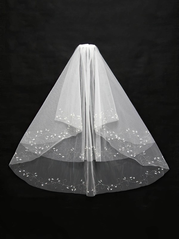 Two-tier White/Ivory Elbow Bridal Veils with Beading #LDB03010133