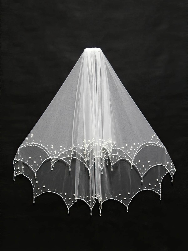 Two-tier White/Ivory Elbow Bridal Veils with Faux Pearl/Beading