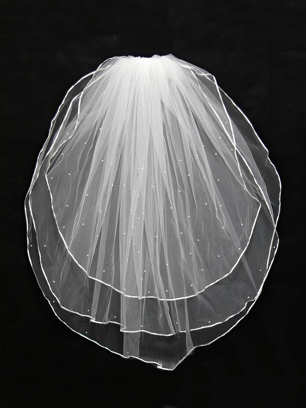 Three-tier White/Ivory Shoulder Veils with Faux Pearl