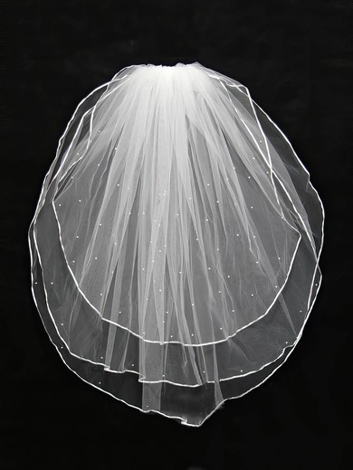 Three-tier White/Ivory Shoulder Veils with Faux Pearl #LDB03010136