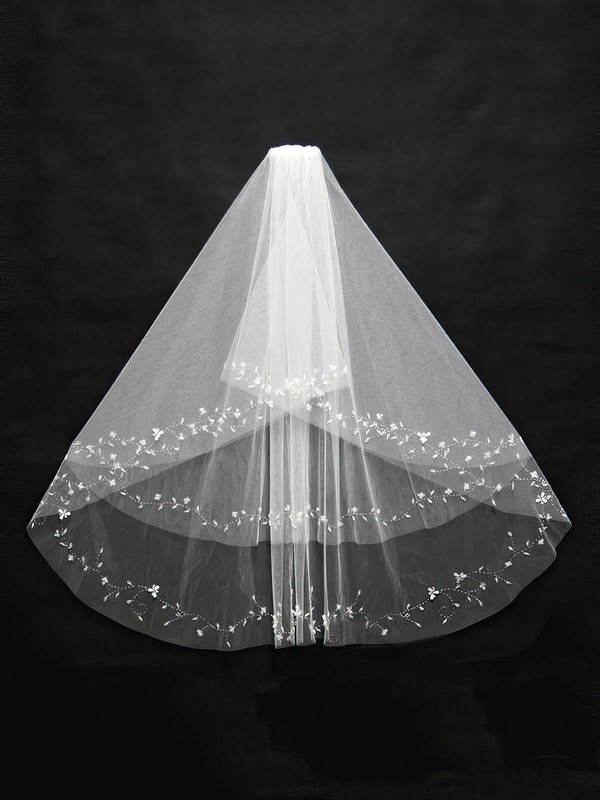 Two-tier White/Ivory Elbow Bridal Veils with Beading #LDB03010137