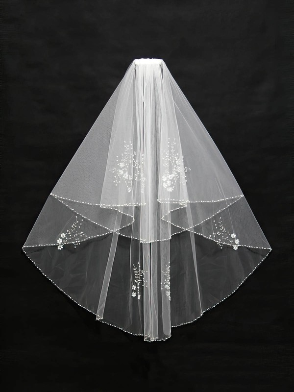 Two-tier Ivory/White Elbow Bridal Veils with Beading/Sequin #LDB03010139