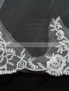 Two-tier White Chapel Bridal Veils with Embroidery #LDB03010142