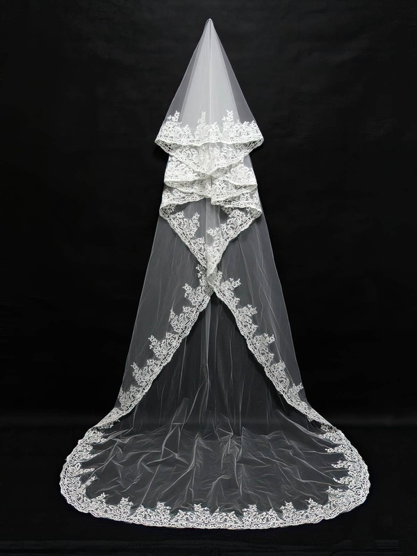 Four-tier White/Ivory Chapel Bridal Veils with Applique #LDB03010143