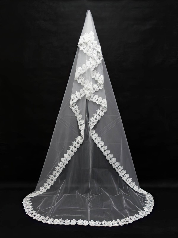 Four-tier White/Ivory Chapel Bridal Veils with Applique #LDB03010144