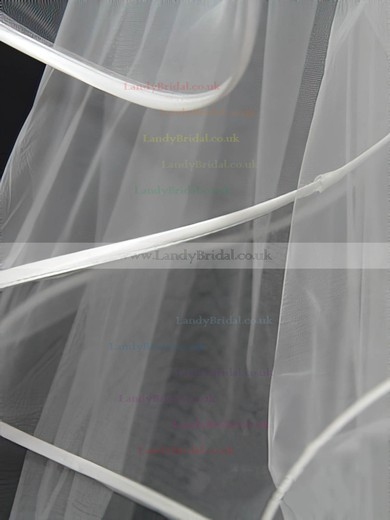 Four-tier White Fingertip Bridal Veils with Bone Binding #LDB03010145