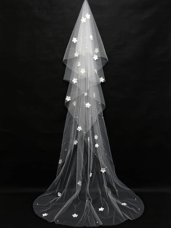 Four-tier White Chapel Bridal Veils with Satin Flower/Faux Pearl #LDB03010146