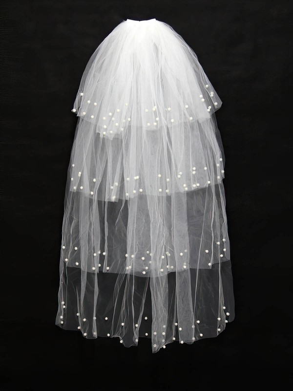 Four-tier White Fingertip Bridal Veils with Faux Pearl