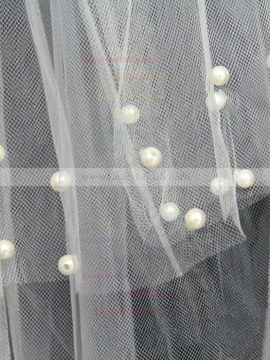 Four-tier White Fingertip Bridal Veils with Faux Pearl #LDB03010147