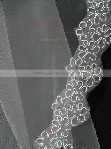 Four-tier White Chapel Bridal Veils with Beading/Applique #LDB03010148