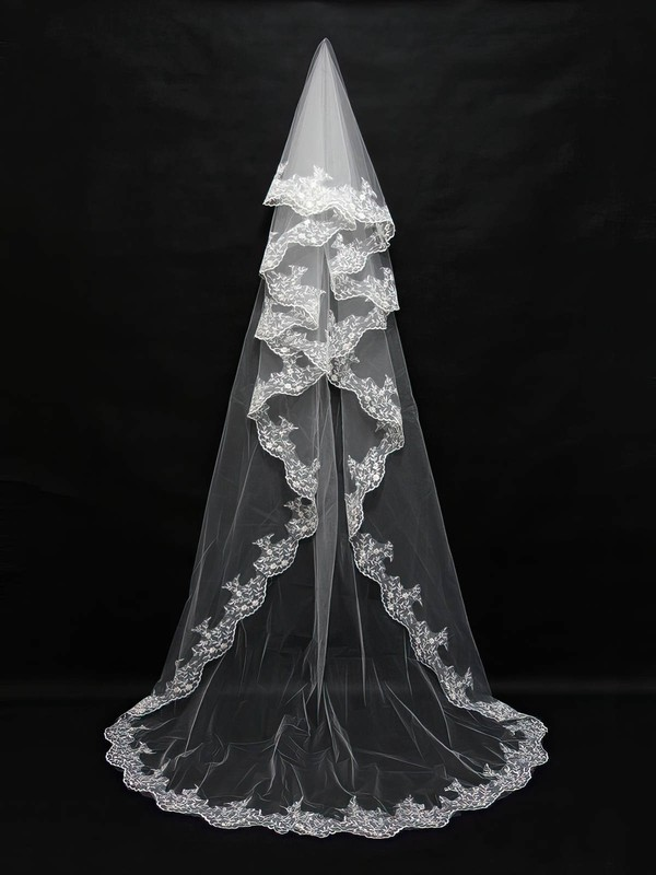 Four-tier White/Ivory Chapel Bridal Veils with Embroidery