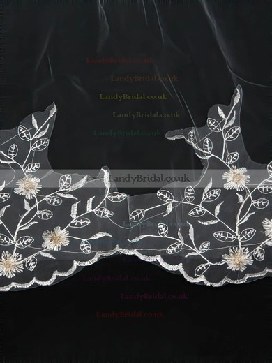 Four-tier White/Ivory Chapel Bridal Veils with Embroidery #LDB03010149