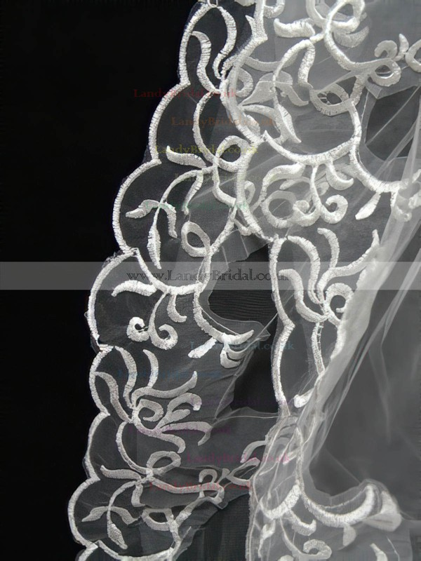Two-tier White/Ivory Elbow Bridal Veils with Embroidery