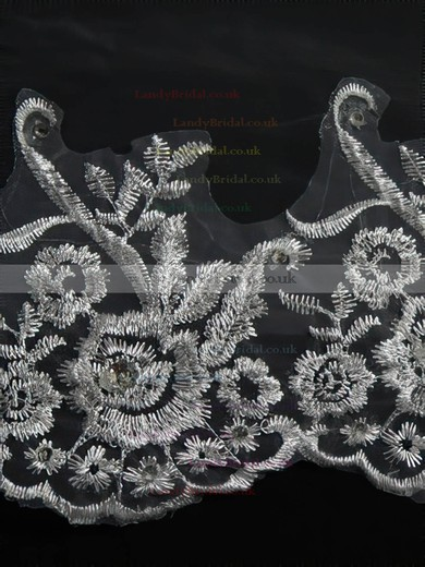 Three-tier White/Ivory Chapel Bridal Veils with Embroidery #LDB03010151