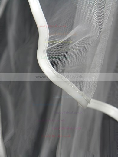 Four-tier White/Ivory Elbow Bridal Veils with Bone Binding #LDB03010153