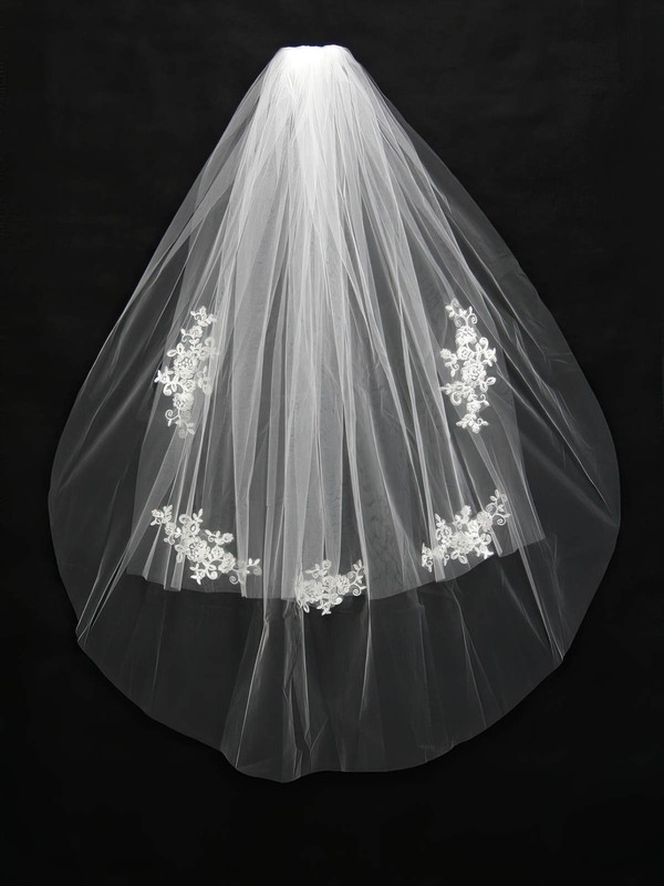 Two-tier White/Ivory Fingertip Bridal Veils with Applique #LDB03010154
