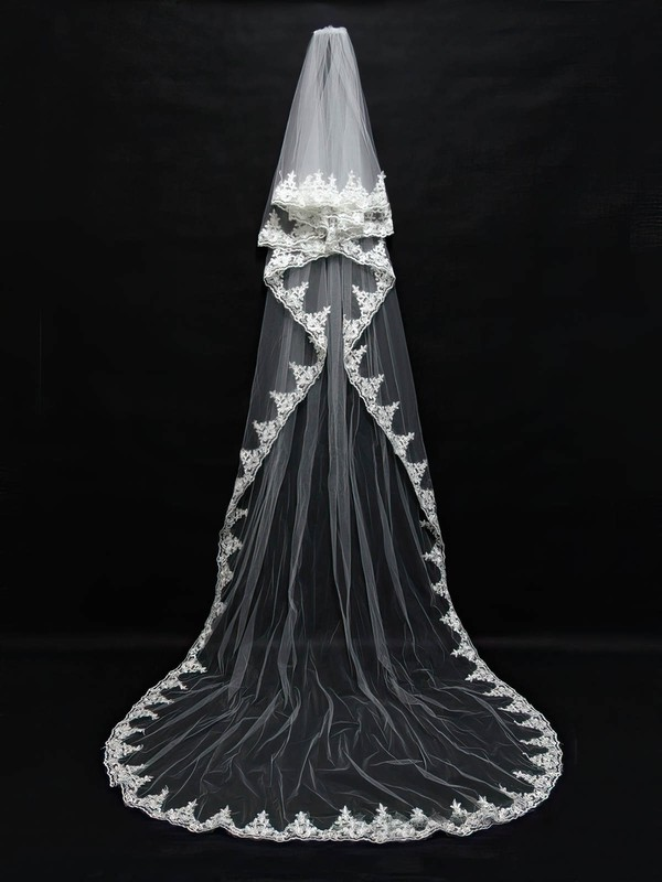Four-tier White/Ivory Cathedral Bridal Veils with Applique