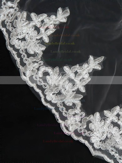 Four-tier White/Ivory Cathedral Bridal Veils with Applique #LDB03010155