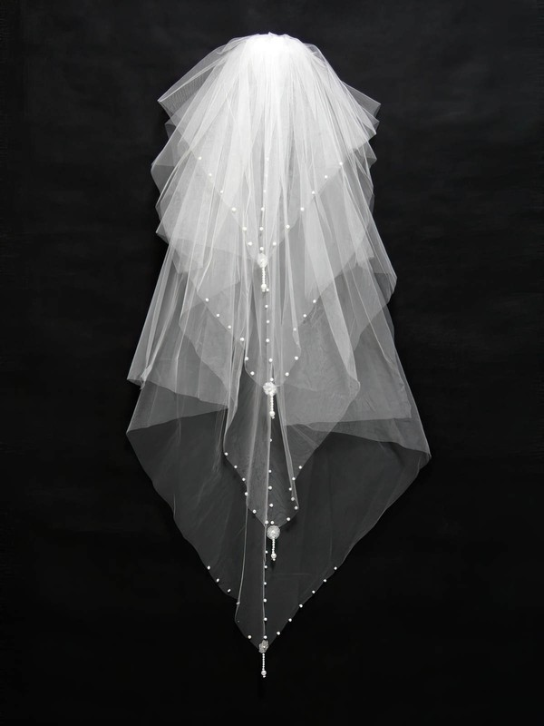 Four-tier White Fingertip Bridal Veils with Sequin/Faux Pearl #LDB03010156