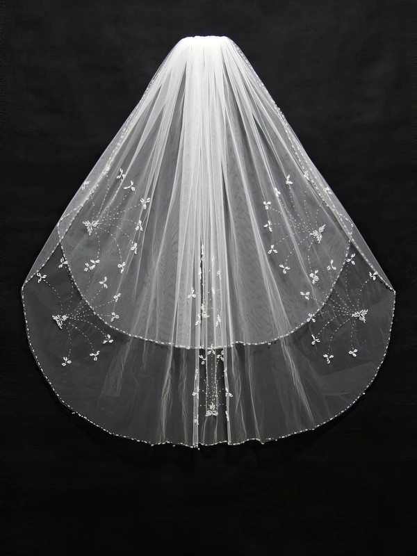 Two-tier White/Ivory Elbow Bridal Veils with Beading #LDB03010157