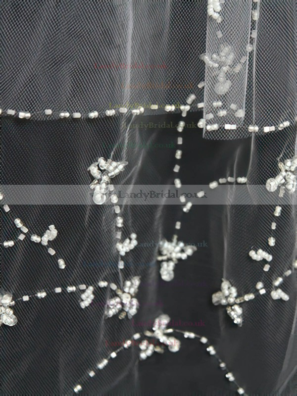 Two-tier White/Ivory Elbow Bridal Veils with Beading/Sequin #LDB03010158