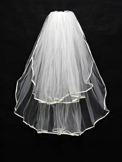 Two-tier White/Ivory Elbow Bridal Veils with Ribbon #LDB03010159