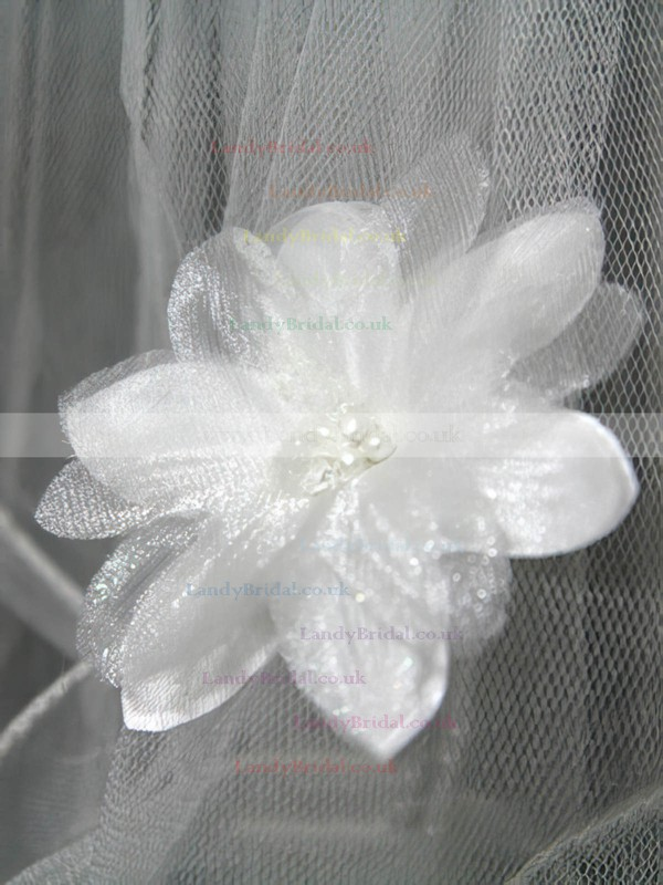 Four-tier White/Ivory Fingertip Bridal Veils with Faux Pearl/Satin Flower/Bone Binding