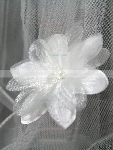 Four-tier White/Ivory Fingertip Bridal Veils with Faux Pearl/Satin Flower/Bone Binding #LDB03010160