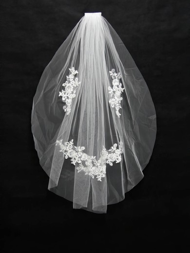 One-tier White/Ivory Fingertip Bridal Veils with Applique #LDB03010161