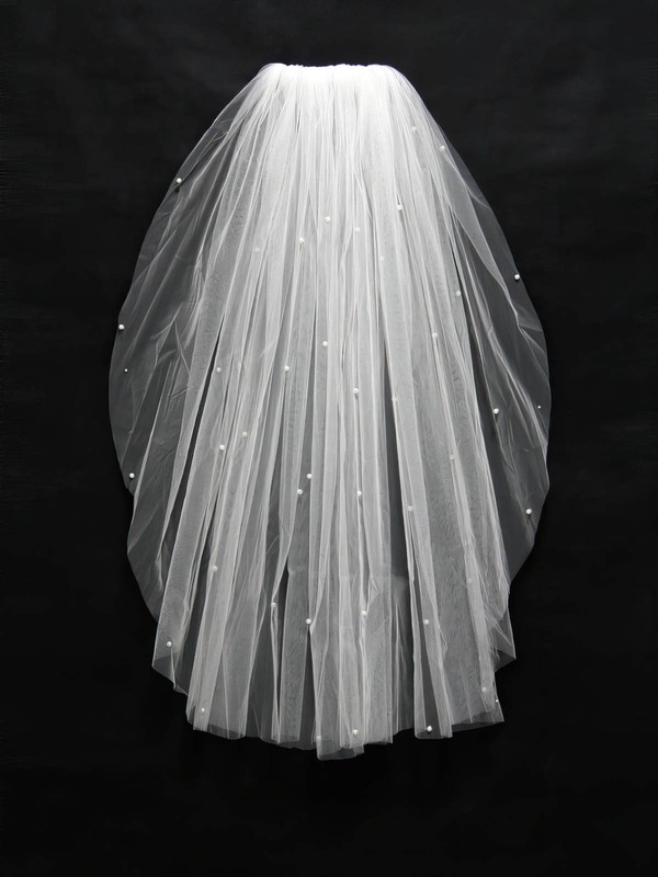 One-tier White/Ivory Elbow Bridal Veils with Faux Pearl