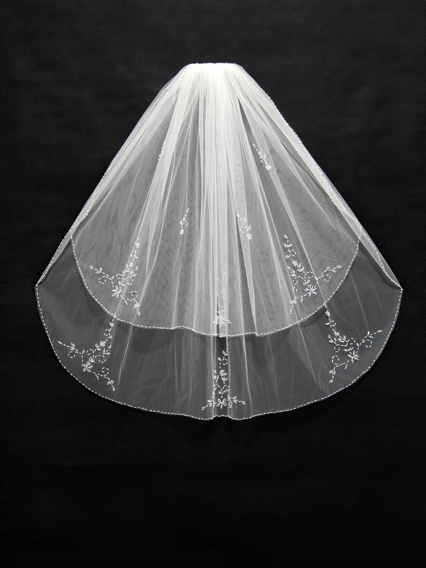 Two-tier White/Ivory Elbow Bridal Veils with Sequin/Beading