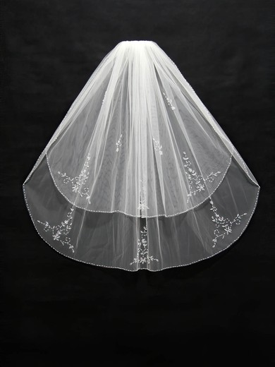 Two-tier White/Ivory Elbow Bridal Veils with Sequin/Beading #LDB03010164