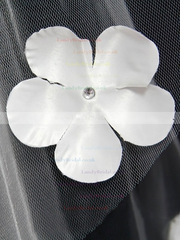 Two-tier White/Ivory Elbow Bridal Veils with Beading/Satin Flower