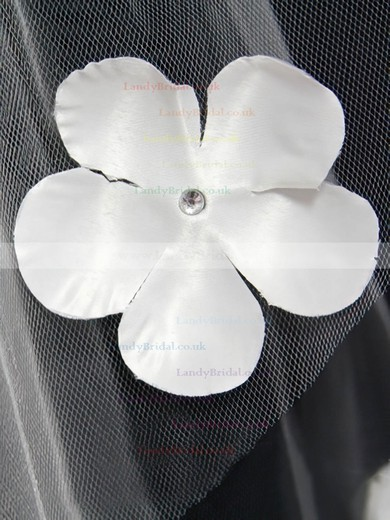 Two-tier White/Ivory Elbow Bridal Veils with Beading/Satin Flower #LDB03010165