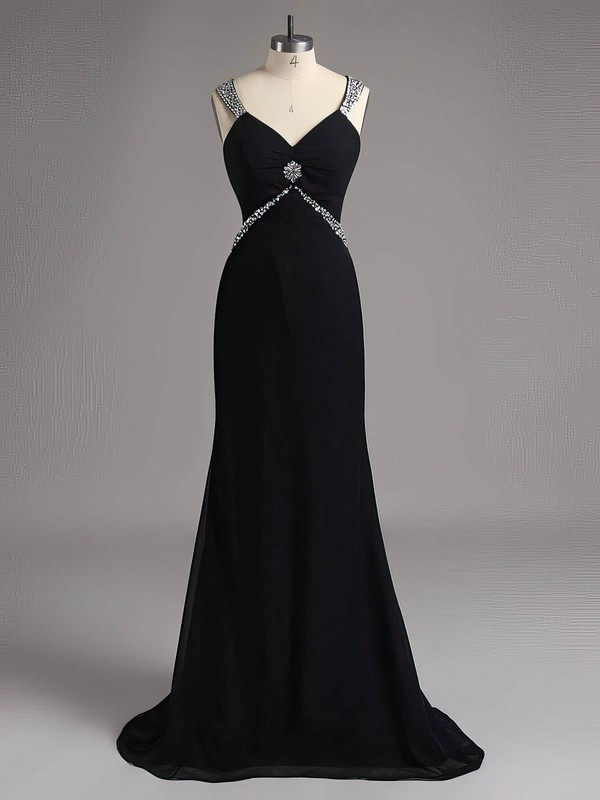 Sweep Train Black Chiffon with Beading Open Back Vintage V-neck Prom Dresses #LDB02014740