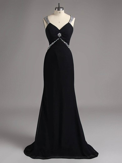Sweep Train Black Chiffon with Beading Open Back Vintage V-neck Prom Dresses #LDB02014740