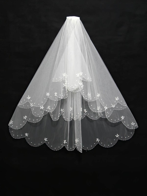 Three-tier White/Ivory Fingertip Bridal Veils with Faux Pearl/Beading