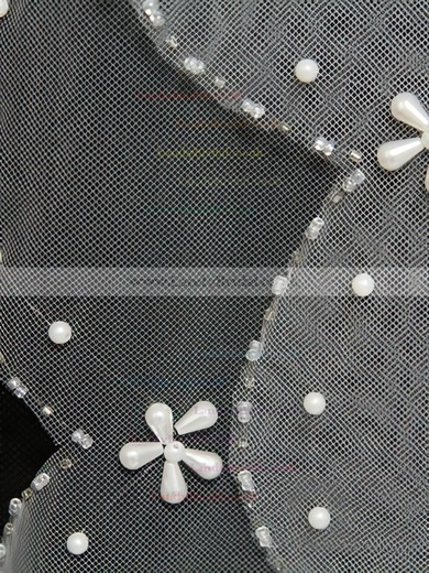 Three-tier White/Ivory Fingertip Bridal Veils with Faux Pearl/Beading #LDB03010167