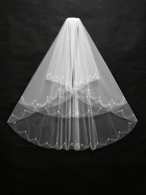 Three-tier White/Ivory Fingertip Bridal Veils with Beading