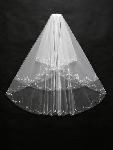 Three-tier White/Ivory Fingertip Bridal Veils with Beading #LDB03010168
