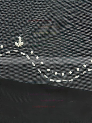 Three-tier White/Ivory Fingertip Bridal Veils with Beading #LDB03010168