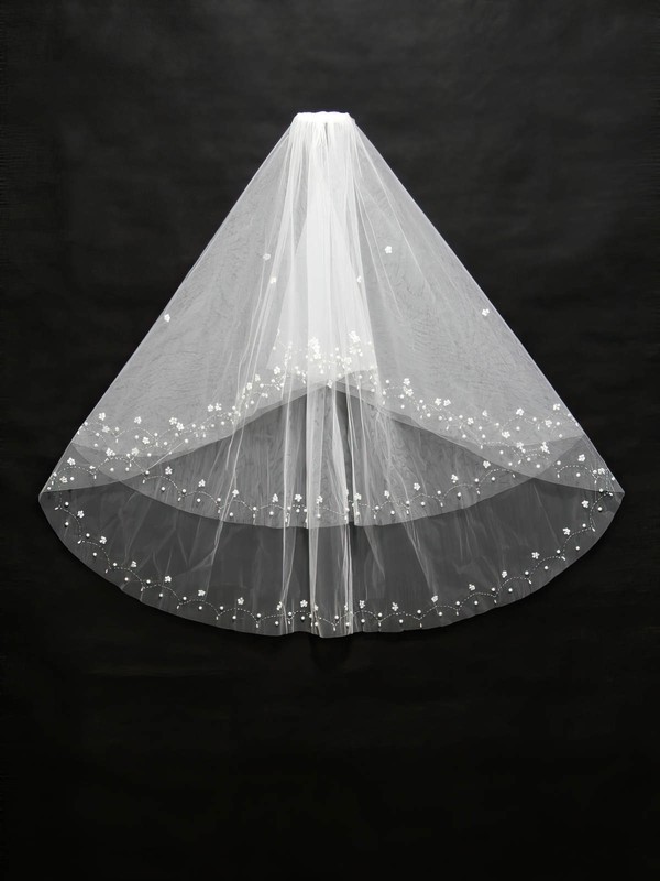 Two-tier White/Ivory Elbow Bridal Veils with Beading/Sequin/Faux Pearl
