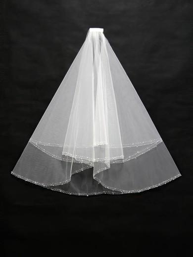 Three-tier White/Ivory Fingertip Bridal Veils with Beading #LDB03010170